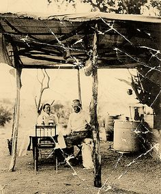 "WYATT EARP - In a rare photo of the couple together, Josie Marcus sits with Wyatt Earp in their desert camp at their ""Happy Days"" gold mine located across the river from Parker, Arizona - Old West Photos, Rare Photos, Vintage Photographs, Antique Photos, Vintage Pictures, Old Pictures, Old West Outlaws, Wyatt Earp, Into The West"