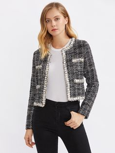 To find out about the Contrast Trim Chain Detail Tweed Blazer at SHEIN, part of our latest Blazers ready to shop online today! Classy Winter Outfits, Spring Work Outfits, Chic Outfits, Fashion Outfits, Womens Fashion, Chanel Jacket Trims, Chanel Style Jacket, Boucle Jacket, Tweed Jacket