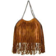 Preowned Stella Mccartney Tan Fringe Falabella Tote With Shw Bag (8,275 GTQ) ❤ liked on Polyvore featuring bags, handbags, tote bags, brown, pocket tote, fringe handbags, tote handbags, faux leather tote bag and fringe purse
