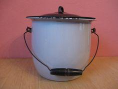 19th Century Vintage Enamel Chamber Pot Pee