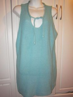 dd7972219 Newport News Easy Style Size 3X Blue Sleeveless Knit Spring Summer Sweater  Top  NewportNews  KnitTop  Casual