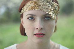 LuciaStofej / Vintage čelenka zlatá OOAK