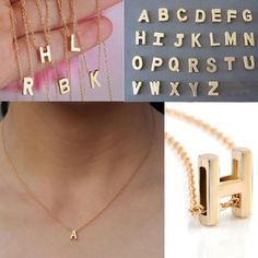 Fashion Womens Gold Plated Initial Alphabet Letter A-Z Pendant Chain Necklace  | eBay
