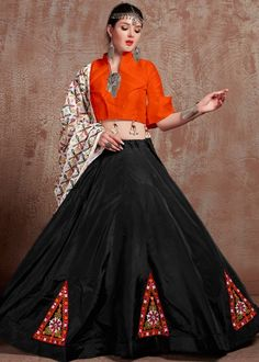 #black #embroidery #navaratri #lehenga #choli #dupatta #designs # traditional #indian #outfits #gorgeous #wedding #look #ootd #new #arrival #womenswear #online #shopping Lehenga Crop Top, Floral Lehenga, Lehenga Skirt, Party Wear Lehenga, Indian Lehenga, Silk Lehenga, Gold Skirt, Choli Designs, Colourful Outfits