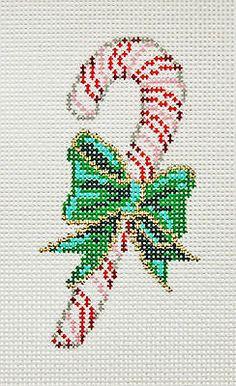 "Needlepoint Handpainted SANDRA GILMORE Christmas ORNAMENT Candy Cane 2""x4"""