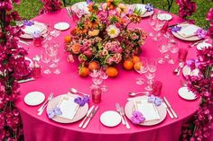 Ultimate Ideas For A Colored Theme Wedding You Must Consider Pink Wedding Theme, Red Wedding, Wedding Themes, Reception Decorations, Table Decorations, Yellow Theme, Bright Flowers, Glamorous Wedding, Wedding Looks