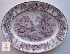 Purple Transferware Platter Rural Scenes Girl Gathering Water from a Stream Bee Skep - Nancy's Daily Dish Antique China, Vintage China, Purple Kitchen, 50s Kitchen, Kitchen Stuff, Bee Skep, Scene Girls, Vintage Dishes, Geometric Designs