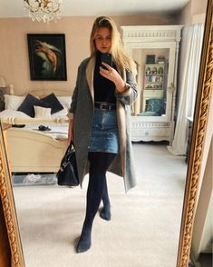 Shop Your Screenshots™ with LIKEtoKNOW.it, a shopping discovery app that allows you to instantly shop your favorite influencer pics across social media and the mobile web. Winter Ootd, Blue Denim Skirt, Black Chelsea Boots, Polo Neck, Black Tights, Daily Look, Givenchy, Mango, Asos