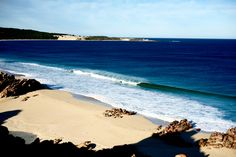 """""""This gem of a beach in Western Australia almost always heralds the most beautiful A-frames you've ever seen as you pass by on the road,"""" says Morgan Maassen. """"However, unless it's a freak cyclone swell, you'll just be pulling into heavy, dry-sand closeouts, watched closely by some very large fish."""" Photo: Maassen"""