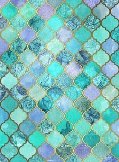 Cool Jade & Icy Mint Decorative Moroccan Tile Pattern Art Print by Micklyn - oooh perfect for mermaid bathroom :) Tile Patterns, Pattern Art, Pattern Cutting, Marble Pattern, Cool Patterns, Pattern Design, Wallpaper Backgrounds, Iphone Wallpaper, Mint Wallpaper