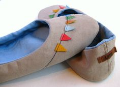Handmade Oatmeal Cotton Canvas Home Shoes with Leather by askidas, $57.00