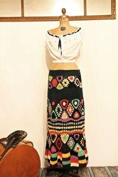 Vintage 1970s Crochet Skirt / Floral Crochet Maxi Skirt / Crochet Hippie Skirt