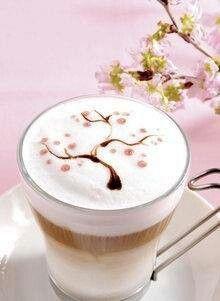 Delicate Cherry Blossom Coffee Art