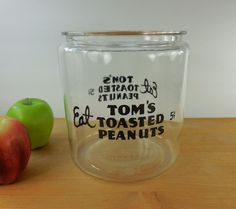 Eat Tom's Roasted Peanuts 5 Cent Jar - Glass Store Gas Station Snack Sales Canister