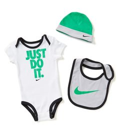 White/Spring Leaf/Wolf Grey:Nike Newborn-12 Months Just Do It Bodysuit, Hat, & Bib Set