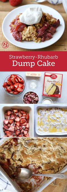 Have extra rhubarb from the farmers market? Made with only six ingredients and cake mix, this dump dessert will take that rhubarb off your hands and turn it into a crowd-friendly treat. Baked right in a 13x9 this is the perfect dessert for a potluck or party! Expert tip: Make sure to spread out the cake mix so there aren't large mounds on top of the cake and each bite has plenty of fruit!