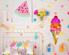 Colorful kids room ice creams Popsicles melon dots