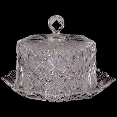 Cake Stand With Dome, Cake Stands, Clear Crystal, Clear Glass, Bohemia Crystal, Crystal Glassware, Fenton Glass, Bottle Vase, Glass Containers