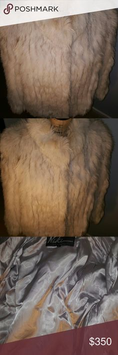 100% Fox fur jacket w/ leather interior-size large Gorgeous cream and dark haired Fox Fur with 100% Acetate Lining (perfect condition) and leather interior trim- Fur origin: Finland Niki  Jackets & Coats