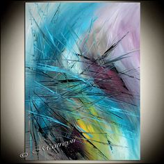"LARGE ARTWORK Abstract painting 52"" x 32"" Modern Art Original Contemporary Art Deco Office, Lobby, Reception Oversize canvas large artwork"