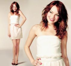 Adorable. Emma Stone. love her just fell out of bed hair. tho it would take me 10 hours to master it.
