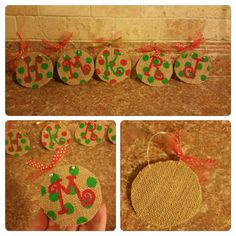 Polka Dot Personalized Initial Burlap by LindseysOrnaments on Etsy