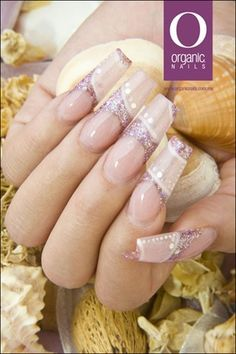 Organic Nails - glitter French with solid band