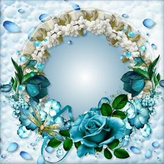 Blue Dream frame. Click to add a photo to this.  #imikimi #blue #babyblue #flowers #photo #bluerose #photoframe pinned with Pinvolve - pinvolve.co