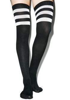 Rack 'Em Up Athletic Thigh Highs all you'll do is WIN with these Rack 'Em Up Athletic Thigh Highs. Sweet, sporty, and clutch, these thigh highs feature 3 white track stripes right above the knees. With a slight stretch in its construction, these BBs will stay up without cutting off yer circulation, so you can stay gunnin' for that number one spot without losing heat.