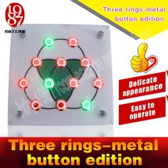 Takagism game new prop,live real life room escape props jxkj-1987 three rings metal button edition press buttonto open lock