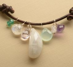 moonstone necklace moonstone leather necklace summer by izuly, $86.00