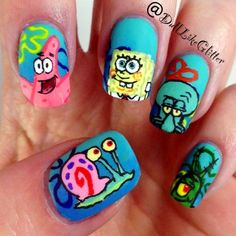 Who Lives Ina Pineapple Under The Sea Nail Art Say It Like Men