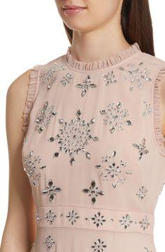 Main Image - kate spade new york solani embellished chiffon dress Salwar Neck Designs, Neck Designs For Suits, Kurta Neck Design, Neckline Designs, Dress Neck Designs, Kurta Designs, Blouse Designs, Trendy Dresses, Nice Dresses