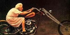((Its never to late for anything, dream big! She looks like our Aunt Peg! Our Aunt Ida had a Harley with side car In the I remember riding in it when I was 6 yrs old and many times more. Guess she was one of the first ladies of Harley. Funny Images, Funny Pictures, Bing Images, Sarcastic Pictures, Biker Quotes, Motorcycle Quotes, Motorcycle Art, Motorcycle Girls, Motorcycle Images