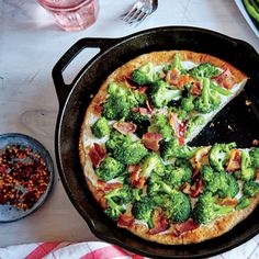 Broccoli-Bacon Skillet Pizza  | MyRecipes.com