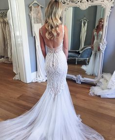 Beaded Fitted Wedding Dress with Pearls