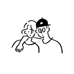 Girl and Boy. Black And White Comics, Black And White Drawing, Cute Illustration, Graphic Design Illustration, Aesthetic Lockscreens, Minimal Photo, Minimalist Drawing, Korean Art, Drawing Reference Poses