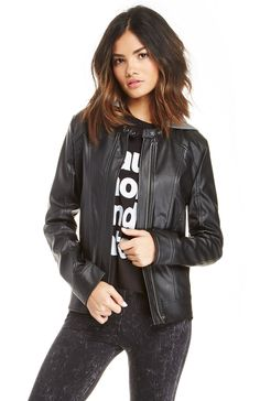 Finishing touch. Vincent Vegan Leather Jacket from Jack by BB Dakota features a removable hoodie, side pockets, and full lining. <b>Stylist Tip</b>:Add this jacket to a simple maxi dress for an edgy style.