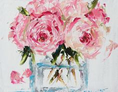 """Wrapped giclee print - peonies in a glass vase 22""""x28"""" roses, peonies, floral, pink"""