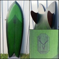 "boardporn på Instagram: ""5'7"" twin keel by @abebarrett based off of a Steve Lis outline. Forest green tint with glass on red cedar fins. Finished off with a fresh logo from @threadandbutterdesigns #abebarrett #twinfin #stevelis #resinart #surfboard"""