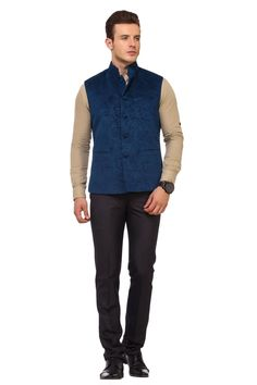 German Blue engraved cotton velvet jacket. Engraved paisleys on velvet make this jacket look very different in crowd. This is a must have for upcoming occasions and weddings. Pair it up with Kurta- Pajamas, Denims, Trousers or even breaches. To buy please visit: http://www.indiankalakari.com/product/german-blue-ethnic-nehru-jacket