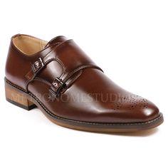 Metrocharm Men's Perforated Double Monk Strap Slip On Loafers Dress Shoes #Metrocharm #LoafersSlipOns #Formal