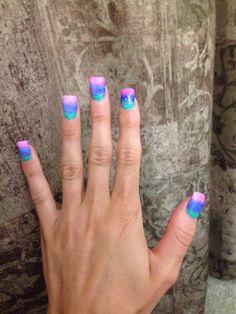 #nails #acrylics #pink #green #blue #sparkle #summer #bright #design #art