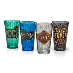 This set of four ThinkGeek-exclusive Fantastic Beasts pint glasses are art deco in style and each display Harry Potter imagery along with a word: Accio, No-Maj, Obliviate, and Stupefy.