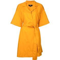 Paule Ka short woven wrap dress ($605) ❤ liked on Polyvore featuring dresses, v neck wrap dress, orange wrap dress, woven dress, v neck dress and collared dresses