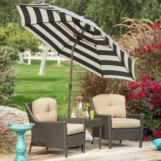 Stylish 9 Ft Market Patio Umbrella With Crank And Tilt In Dark Navy And  White