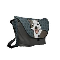 Cartoon Pitbull / American Staffordshire Terrier Courier Bag