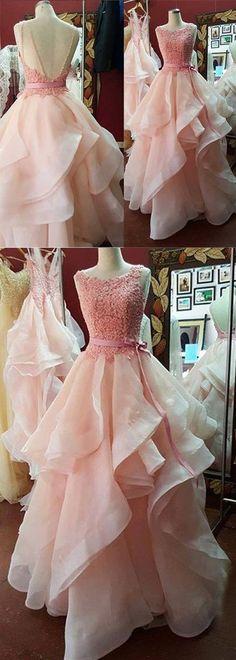 Modern Pink Prom Dress - Crew Neck Sweep