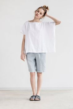 Washed and soft loose linen top with drop shoulder sleeves. Love the oversized look. Perfect for summer!