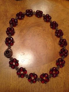 Red Czech beaded necklace garnet necklace red by AmyKanarekDesigns